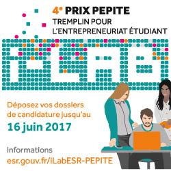 Prix PEPITE : tremplin pour l'entrepreneuriat étudiant 2017, candidatures jusqu'au 16 juin
