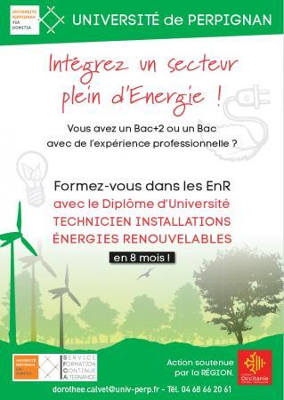 Le DU de technicien en installations d'énergies renouvelables recherche des candidats à Perpignan...