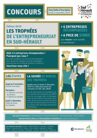 Édition 2018 des Trophées de l'entrepreneuriat en Sud-Hérault : candidature avant le 5 novembre