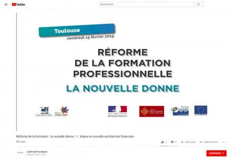 Le Carif-Oref Occitanie met en ligne 5 vidéos sur la matinale « Réforme de la formation : la nouvelle donne ».