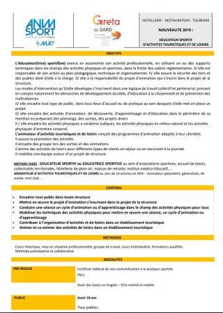 Nouvelle formation biqualifiante « éducateur sportif d'activités touristiques et de loisirs » : réunion d'information à Nîmes le 7 mai