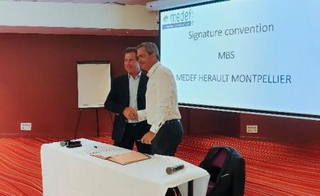 Montpellier Business School et le MEDEF Hérault Montpellier signent une convention de partenariat.