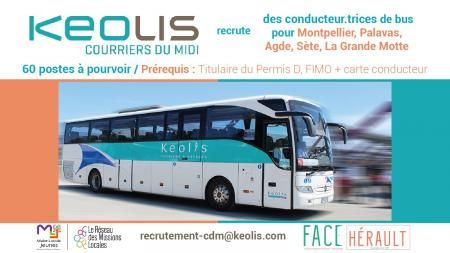 Keolis Courriers du Midi recrute 60 conducteur(trice)s de bus saisonniers.